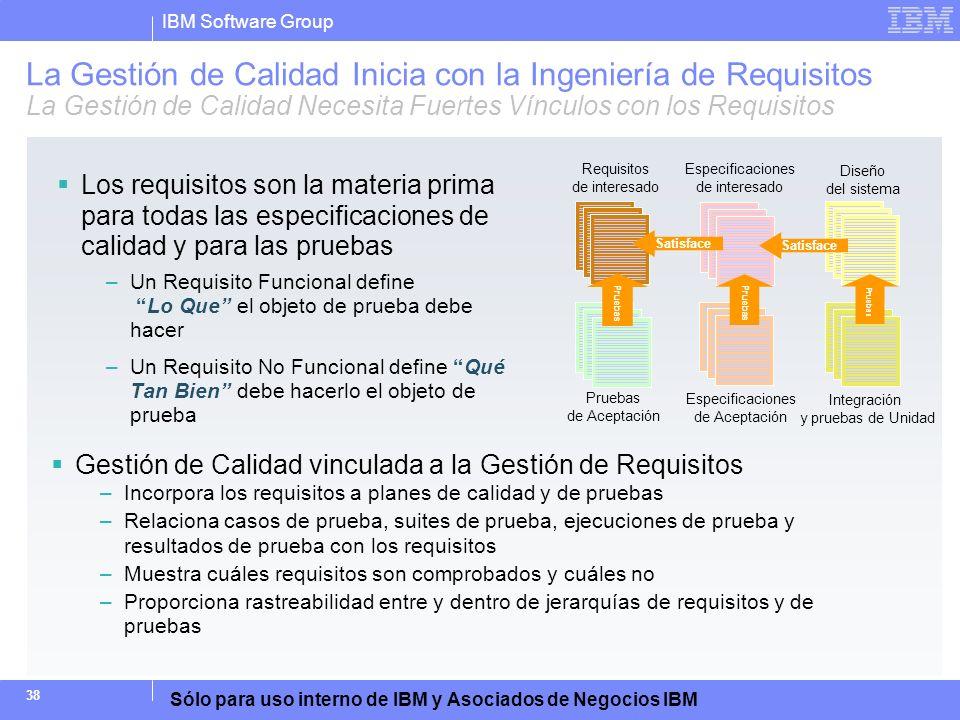 La Gestión de Calidad Inicia con la Ingeniería de Requisitos La Gestión de Calidad Necesita Fuertes Vínculos con los Requisitos