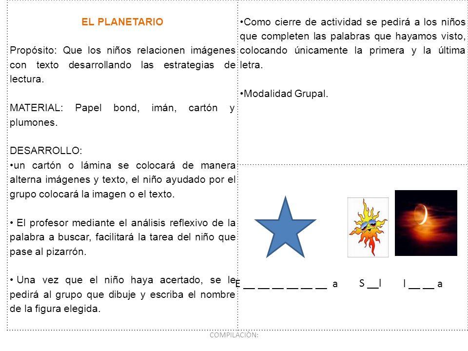 E __ __ __ __ __ __ a S __l l __ __ a EL PLANETARIO