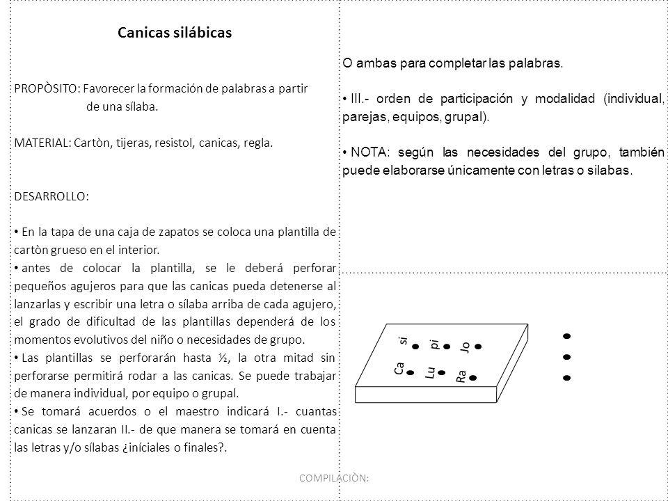 Canicas silábicas O ambas para completar las palabras.