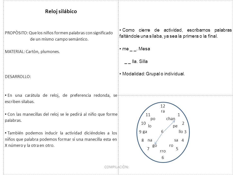 Reloj silábico PROPÒSITO: Que los niños formen palabras con significado. de un mismo campo semántico.