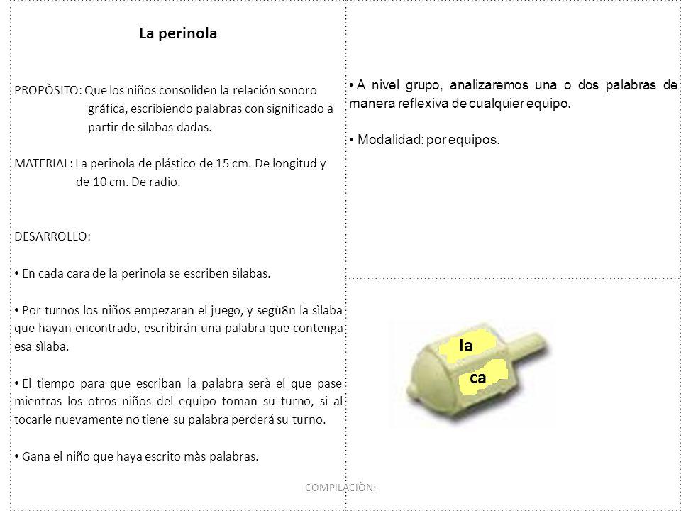 La perinola PROPÒSITO: Que los niños consoliden la relación sonoro. gráfica, escribiendo palabras con significado a.