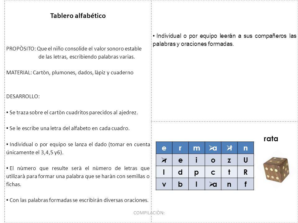Tablero alfabético rata e r m a t n i o z U l d p c R v b f