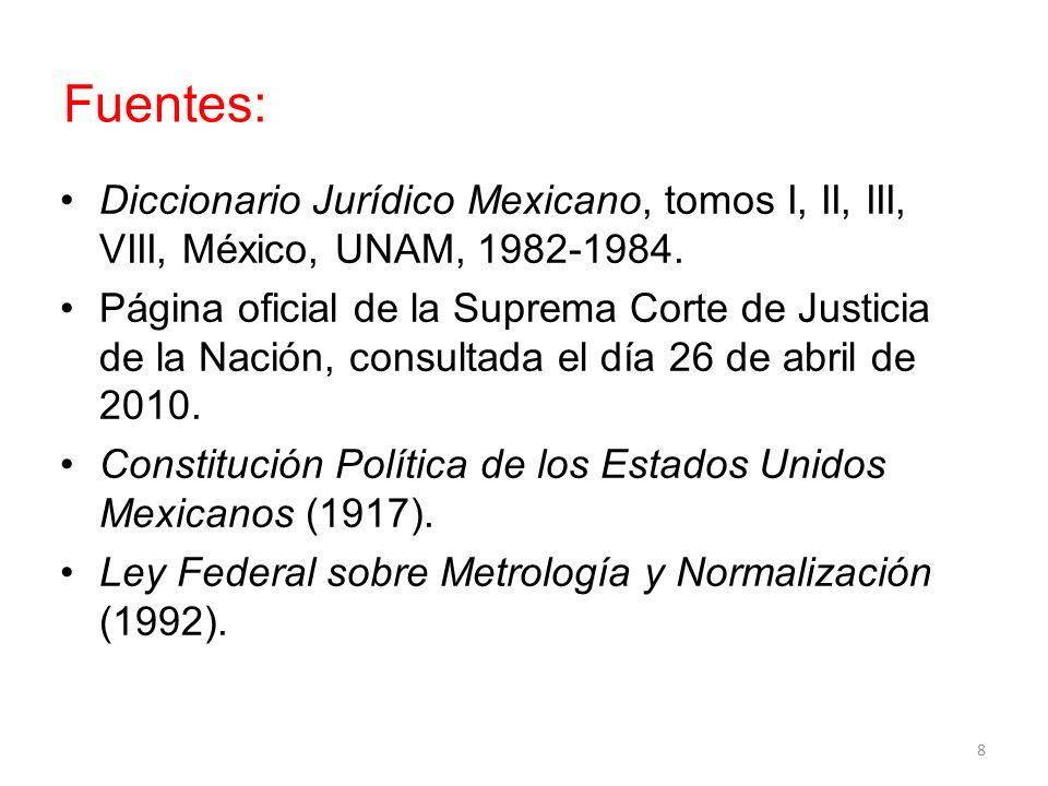 Fuentes: Diccionario Jurídico Mexicano, tomos I, II, III, VIII, México, UNAM, 1982-1984.