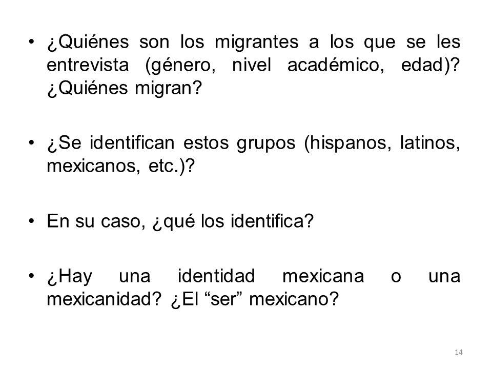 ¿Quiénes son los migrantes a los que se les entrevista (género, nivel académico, edad) ¿Quiénes migran