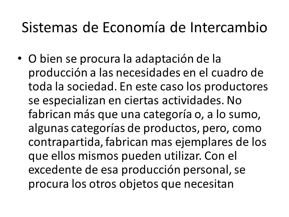 Sistemas de Economía de Intercambio