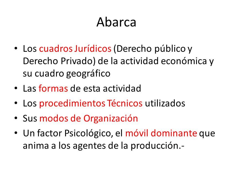 AbarcaLos cuadros Jurídicos (Derecho público y Derecho Privado) de la actividad económica y su cuadro geográfico.
