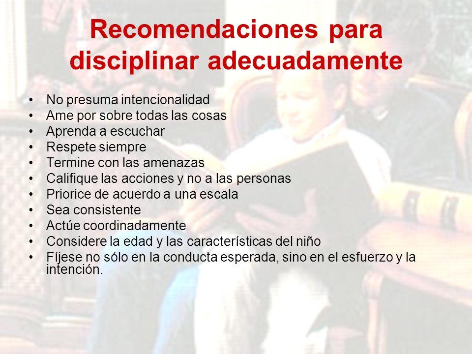 Recomendaciones para disciplinar adecuadamente