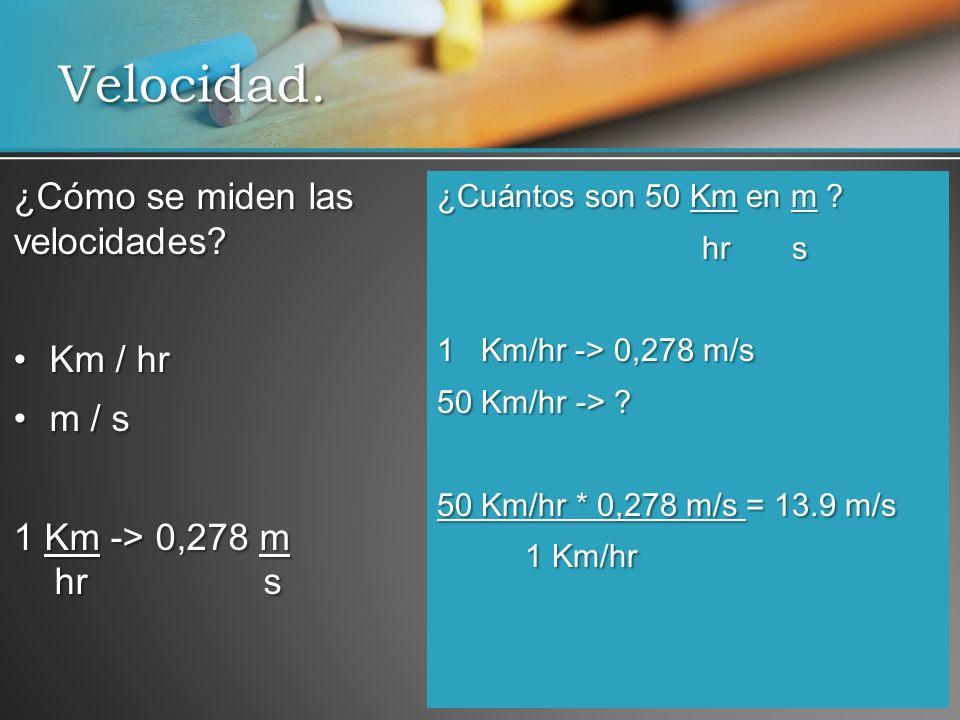 Velocidad. ¿Cómo se miden las velocidades Km / hr m / s
