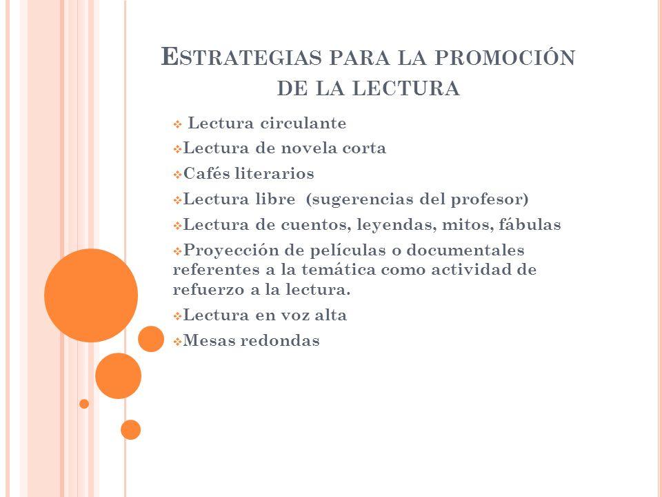 Estrategias para la promoción de la lectura