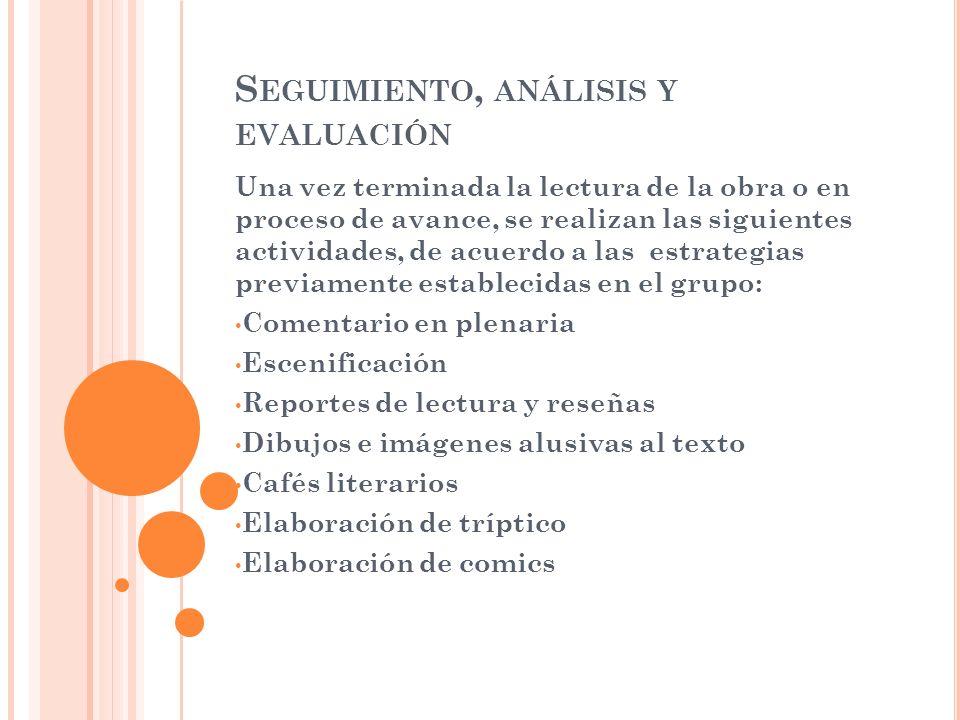 Seguimiento, análisis y evaluación