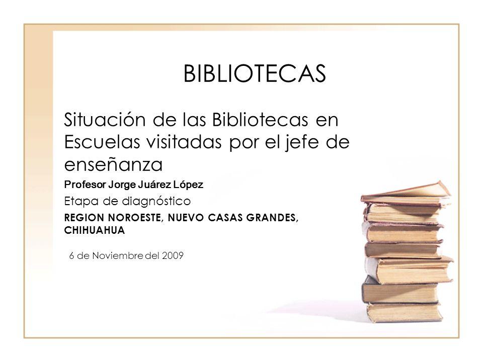 BIBLIOTECAS Situación de las Bibliotecas en Escuelas visitadas por el jefe de enseñanza. Profesor Jorge Juárez López.