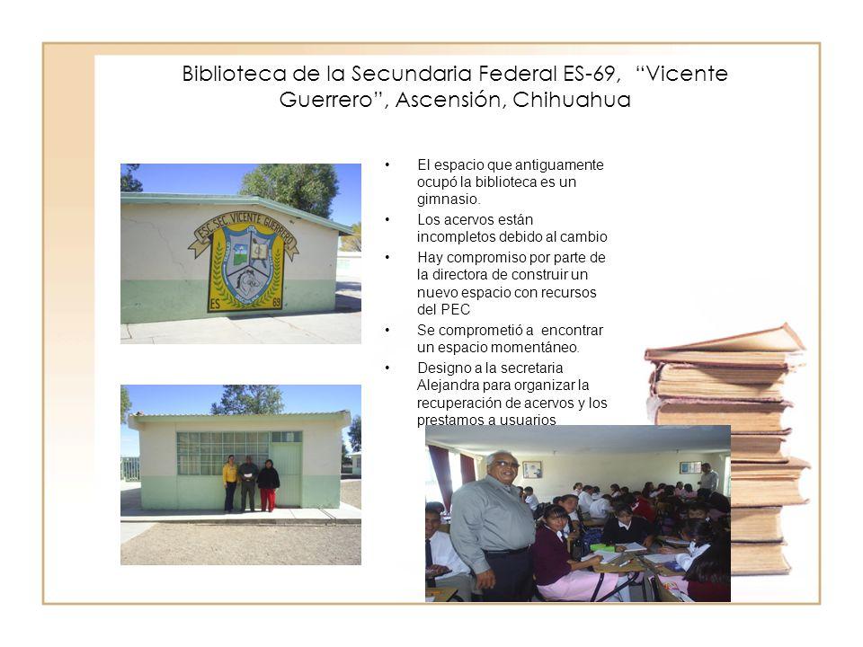 Biblioteca de la Secundaria Federal ES-69, Vicente Guerrero , Ascensión, Chihuahua