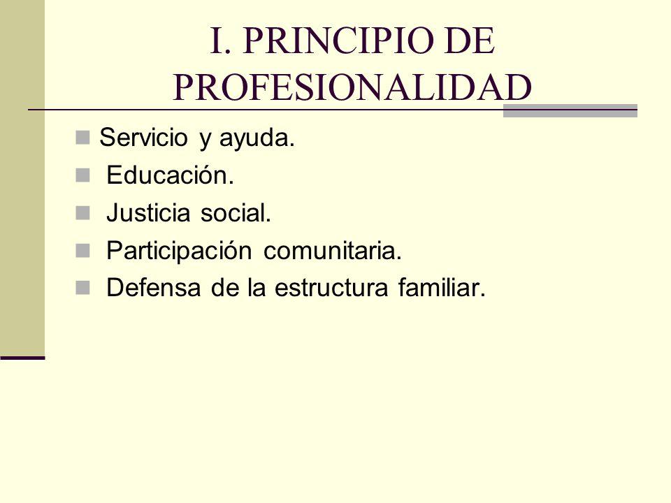 I. PRINCIPIO DE PROFESIONALIDAD