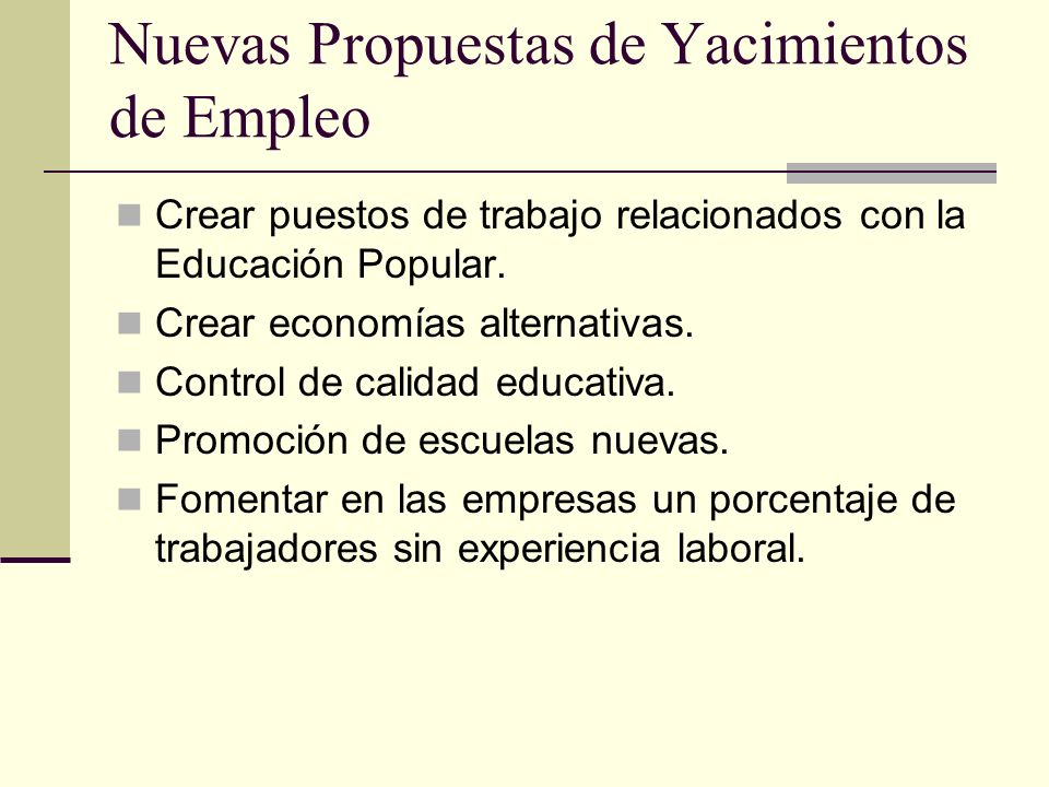 Nuevas Propuestas de Yacimientos de Empleo
