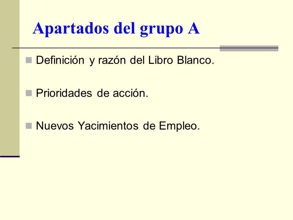 Apartados del grupo A Definición y razón del Libro Blanco.