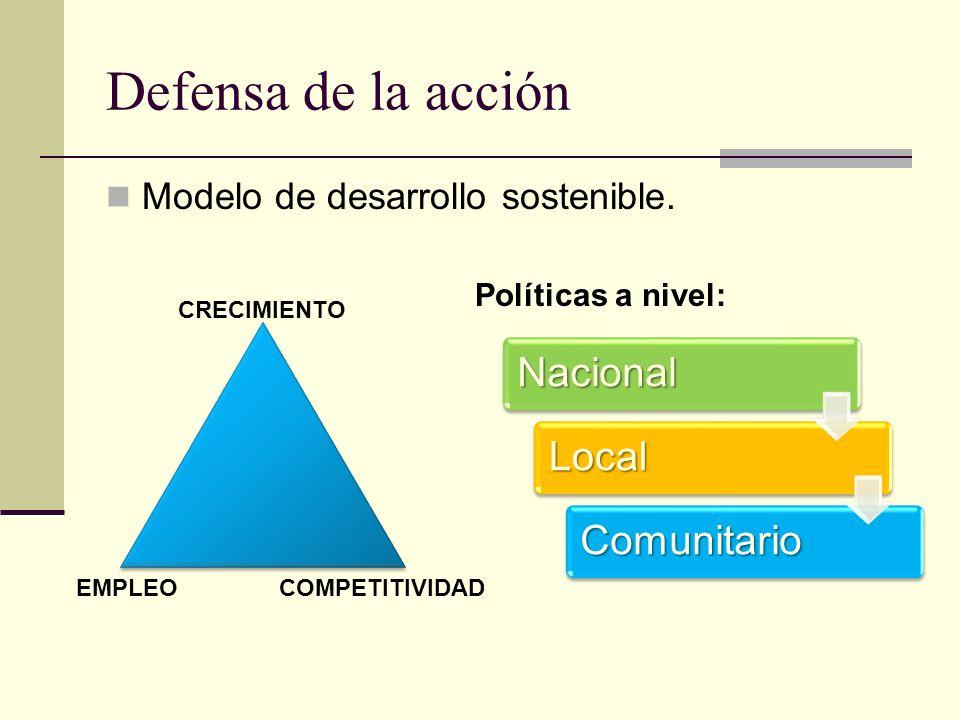Defensa de la acción Modelo de desarrollo sostenible.