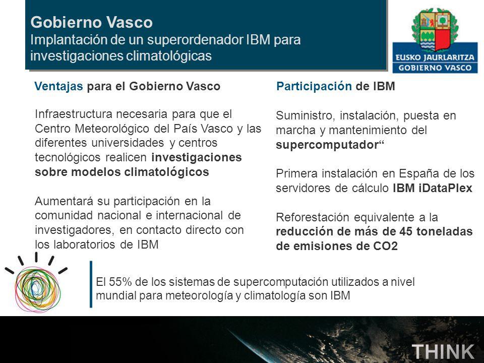 Gobierno Vasco Implantación de un superordenador IBM para investigaciones climatológicas. Ventajas para el Gobierno Vasco.