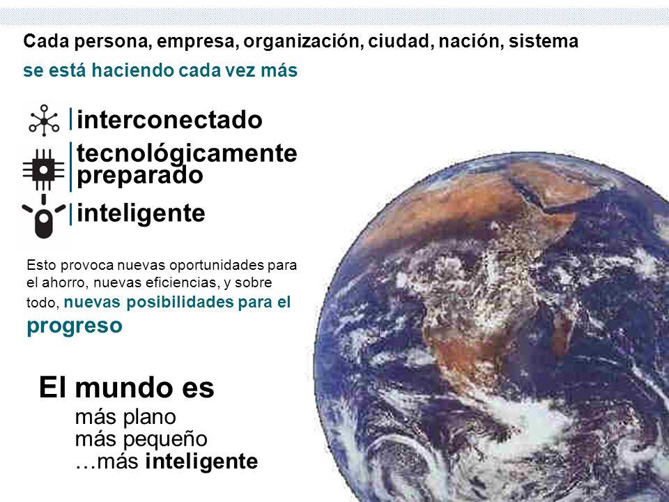 El mundo es interconectado tecnológicamente preparado inteligente
