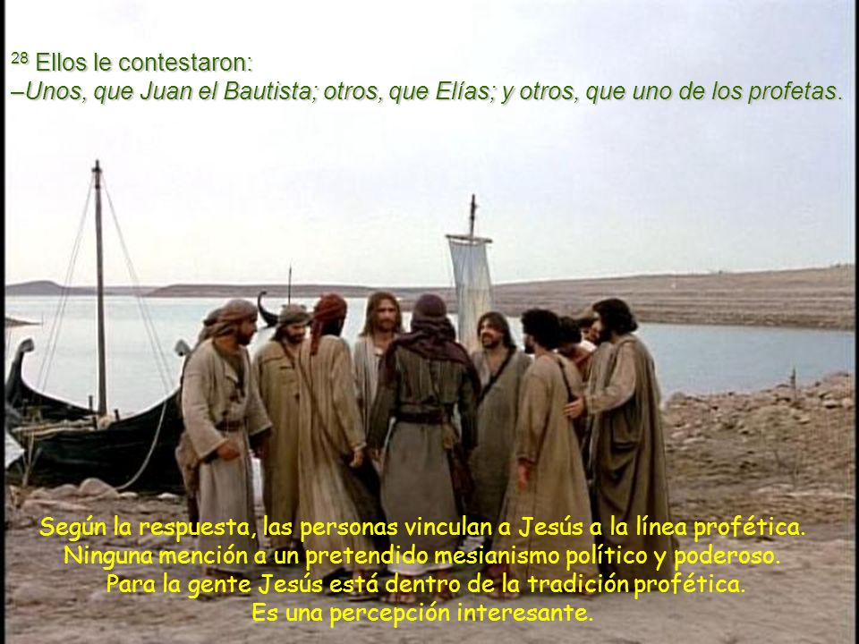 28 Ellos le contestaron: –Unos, que Juan el Bautista; otros, que Elías; y otros, que uno de los profetas.