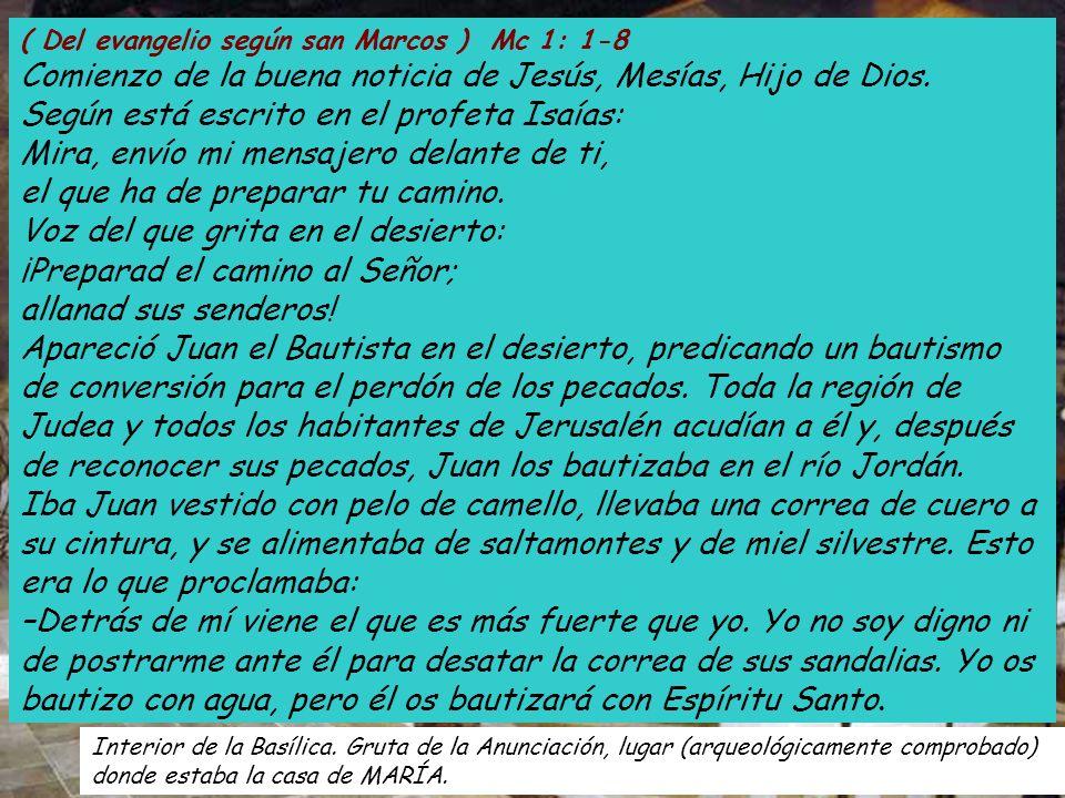 ( Del evangelio según san Marcos ) Mc 1: 1-8