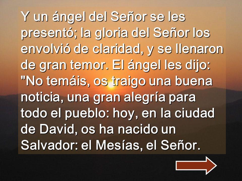 Y un ángel del Señor se les presentó; la gloria del Señor los envolvió de claridad, y se llenaron de gran temor.