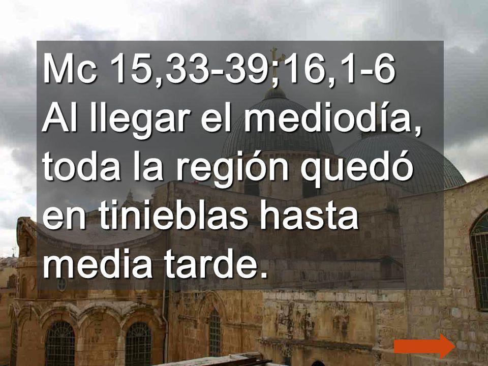 Mc 15,33-39;16,1-6 Al llegar el mediodía, toda la región quedó en tinieblas hasta media tarde.