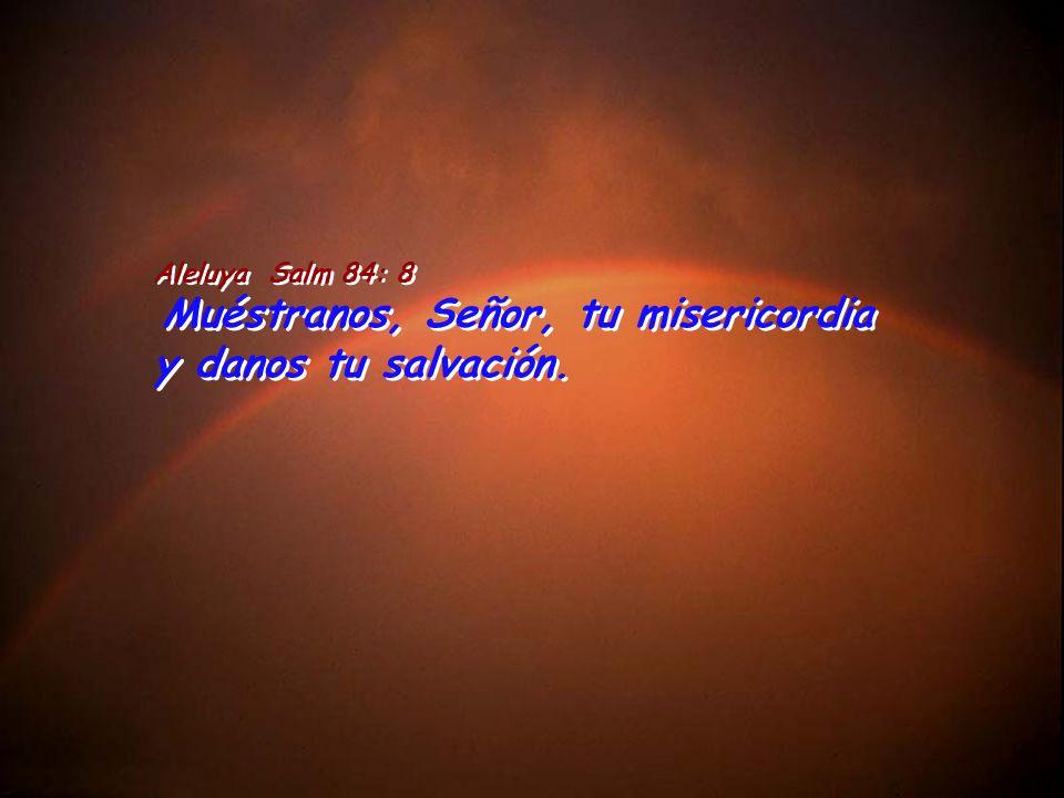 Aleluya Salm 84: 8 Muéstranos, Señor, tu misericordia y danos tu salvación.