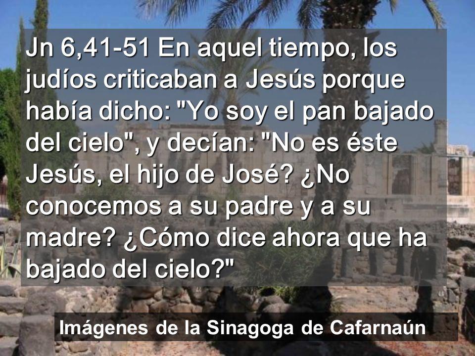 Jn 6,41-51 En aquel tiempo, los judíos criticaban a Jesús porque había dicho: Yo soy el pan bajado del cielo , y decían: No es éste Jesús, el hijo de José ¿No conocemos a su padre y a su madre ¿Cómo dice ahora que ha bajado del cielo