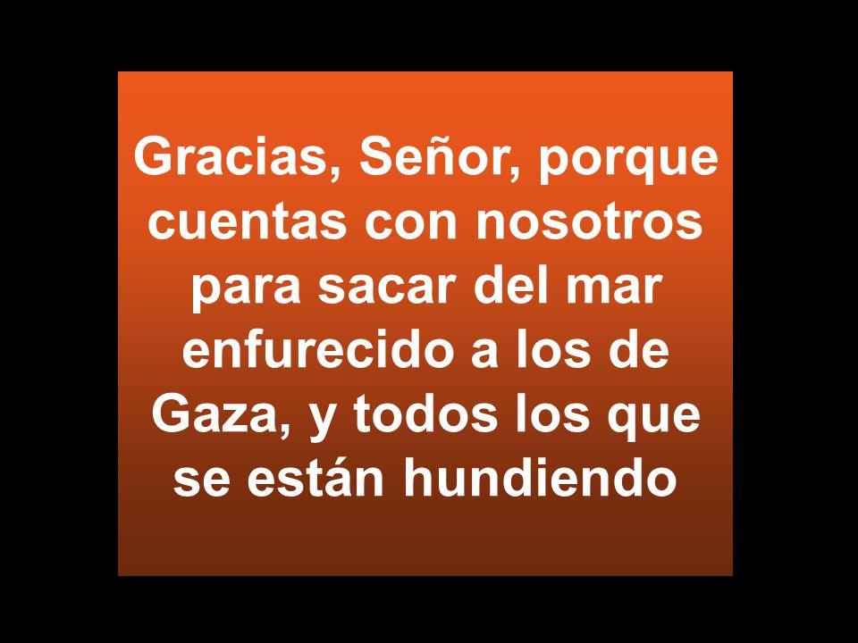 Gracias, Señor, porque cuentas con nosotros para sacar del mar enfurecido a los de Gaza, y todos los que se están hundiendo