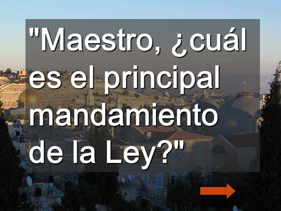 Maestro, ¿cuál es el principal mandamiento de la Ley