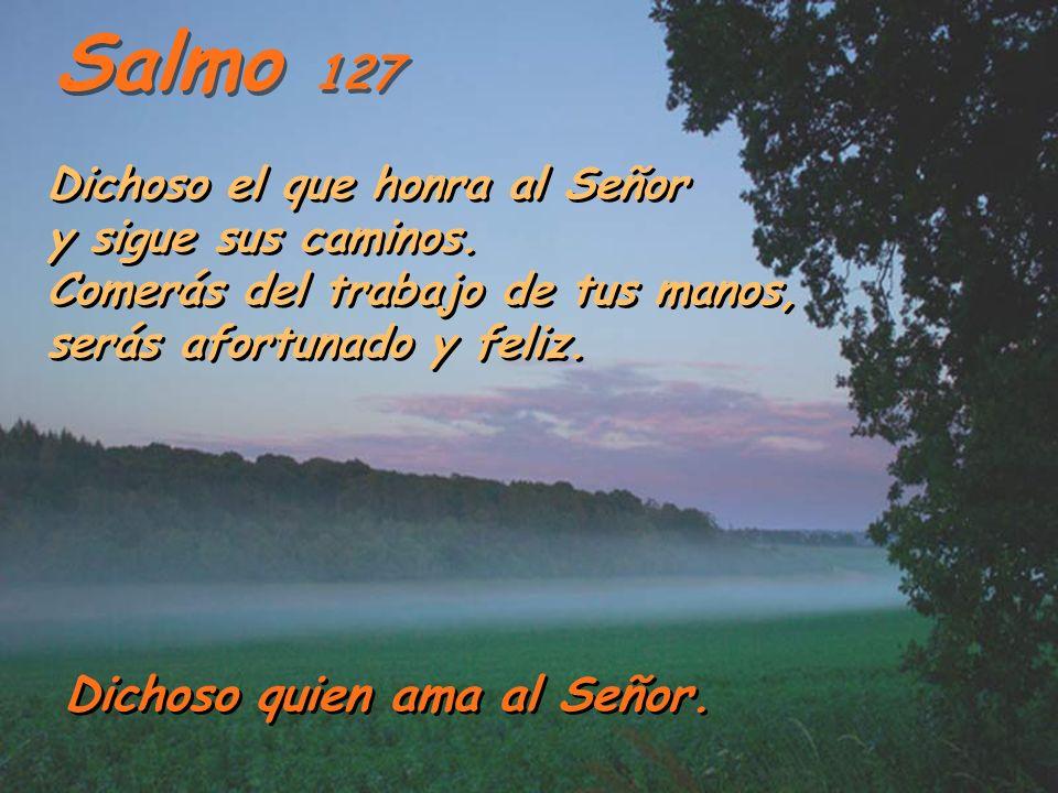 Salmo 127 Dichoso el que honra al Señor y sigue sus caminos. Comerás del trabajo de tus manos, serás afortunado y feliz.
