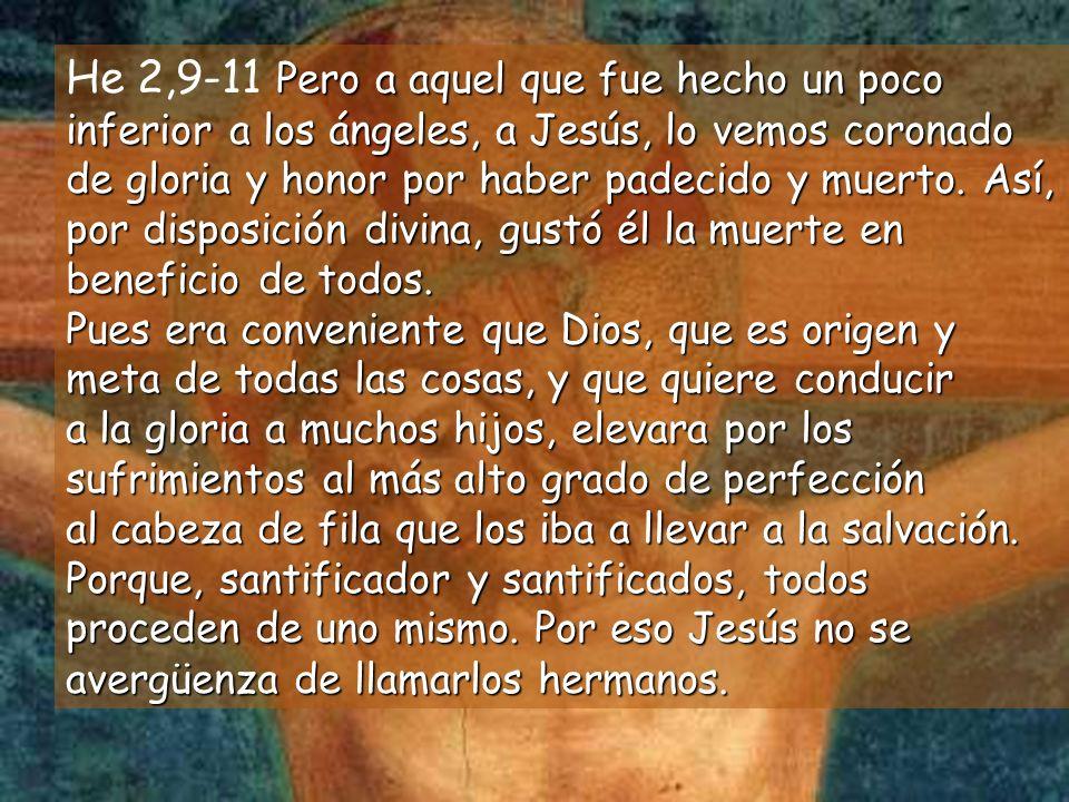 He 2,9-11 Pero a aquel que fue hecho un poco inferior a los ángeles, a Jesús, lo vemos coronado de gloria y honor por haber padecido y muerto.