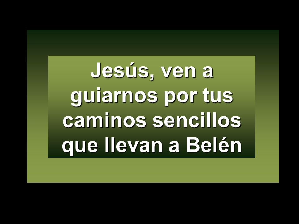 Jesús, ven a guiarnos por tus caminos sencillos que llevan a Belén
