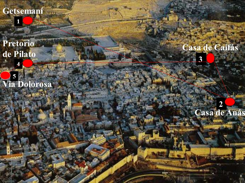 Getsemaní Pretorio de Pilato Casa de Caifás Via Dolorosa Casa de Anás