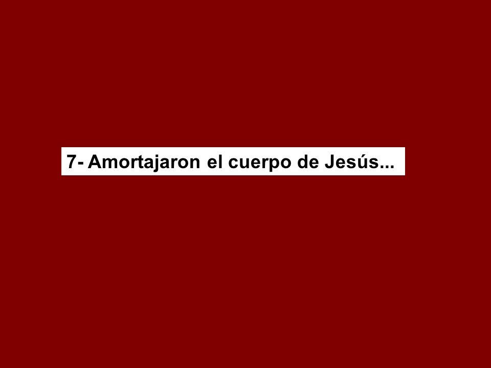7- Amortajaron el cuerpo de Jesús...
