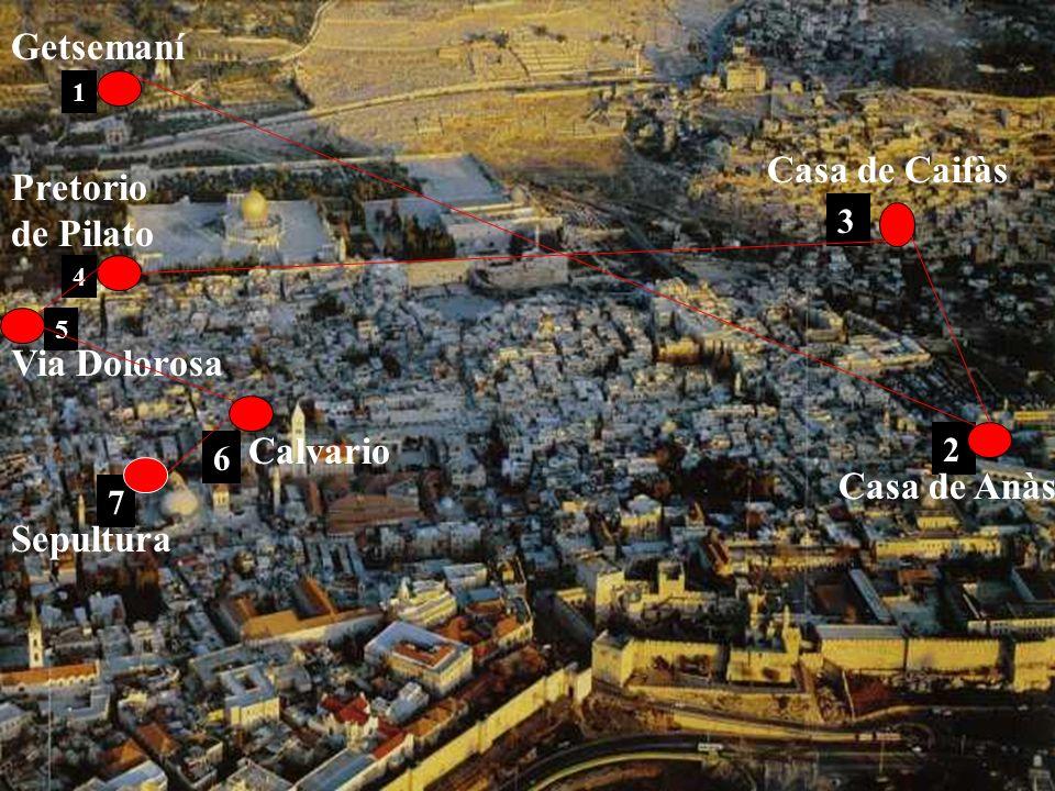 Getsemaní Casa de Caifàs Pretorio de Pilato Via Dolorosa Calvario