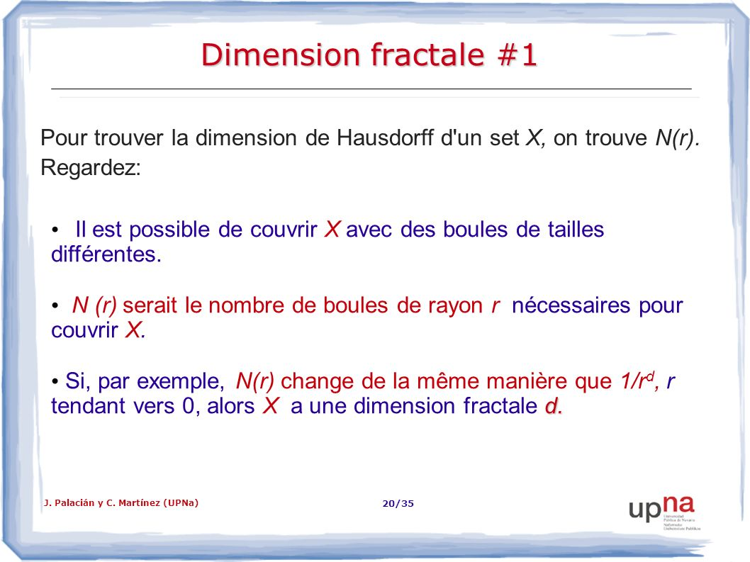 Dimension fractale #1 Pour trouver la dimension de Hausdorff d un set X, on trouve N(r). Regardez: