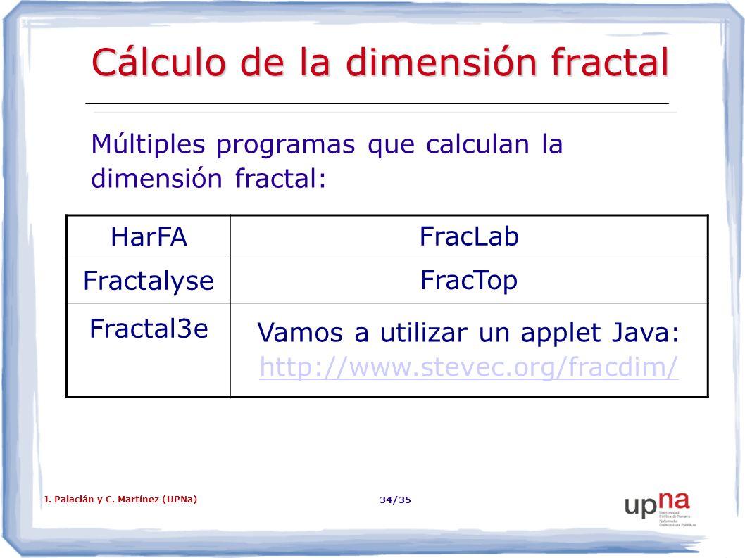 Cálculo de la dimensión fractal