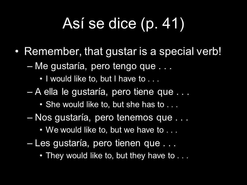 Así se dice (p. 41) Remember, that gustar is a special verb!