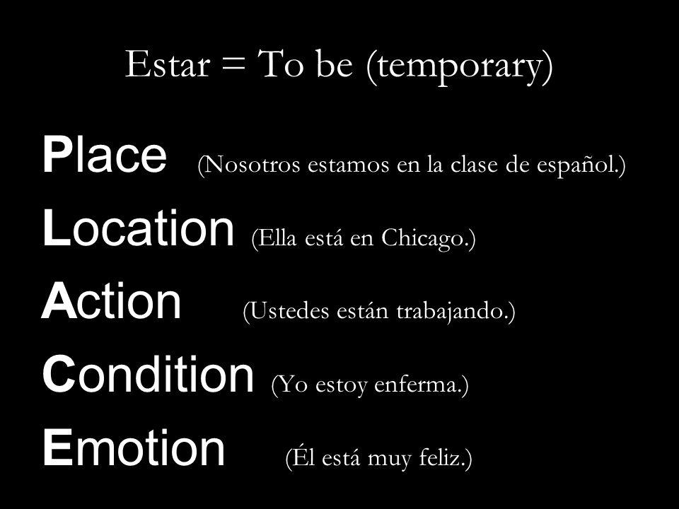 Estar = To be (temporary)