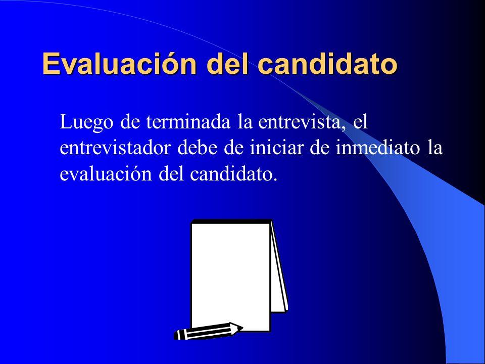 Evaluación del candidato