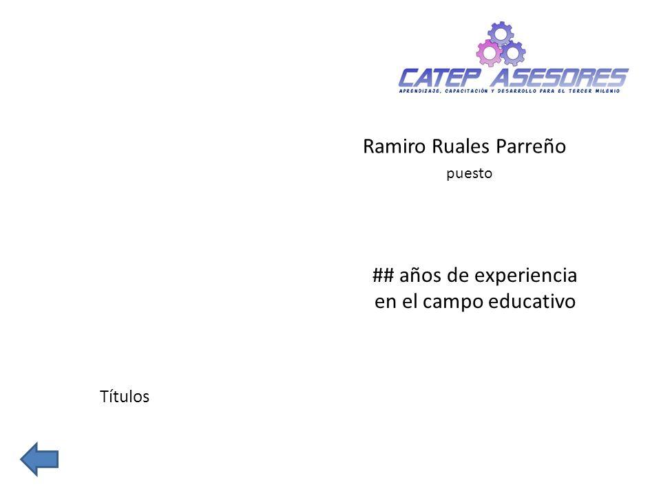 ## años de experiencia en el campo educativo