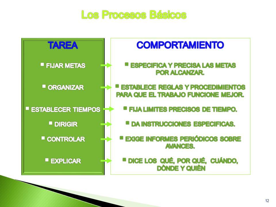Los Procesos Básicos TAREA COMPORTAMIENTO FIJAR METAS ORGANIZAR