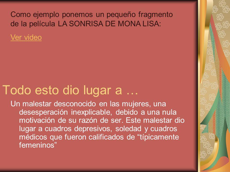 Como ejemplo ponemos un pequeño fragmento de la película LA SONRISA DE MONA LISA: