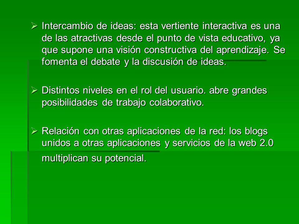 Intercambio de ideas: esta vertiente interactiva es una de las atractivas desde el punto de vista educativo, ya que supone una visión constructiva del aprendizaje. Se fomenta el debate y la discusión de ideas.