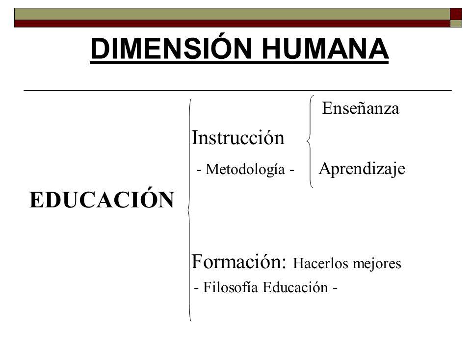 DIMENSIÓN HUMANA EDUCACIÓN Enseñanza Instrucción