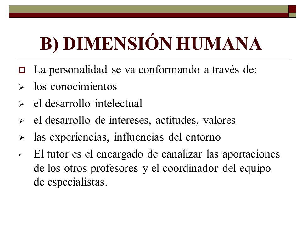 B) DIMENSIÓN HUMANA La personalidad se va conformando a través de: