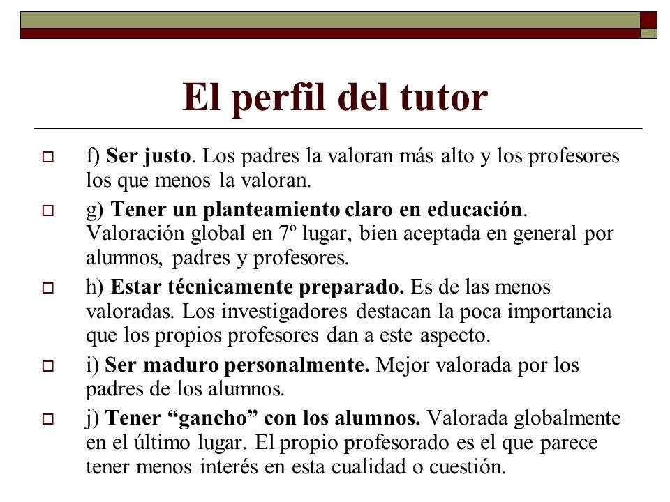 El perfil del tutor f) Ser justo. Los padres la valoran más alto y los profesores los que menos la valoran.