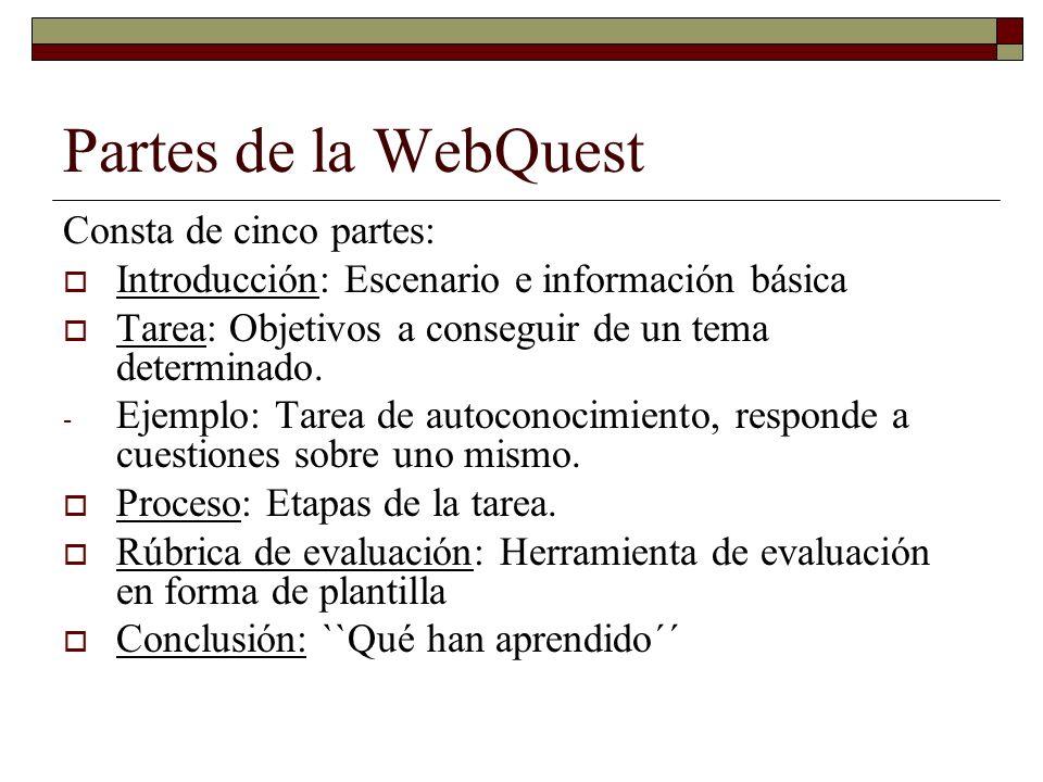 Partes de la WebQuest Consta de cinco partes: