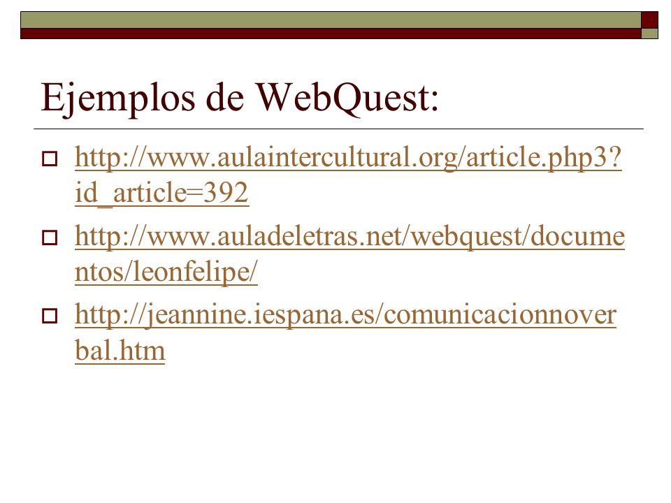 Ejemplos de WebQuest: http://www.aulaintercultural.org/article.php3 id_article=392. http://www.auladeletras.net/webquest/documentos/leonfelipe/